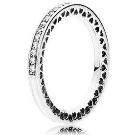 Pandora Radiant Hearts of Pandora Clear Ring, Size 7