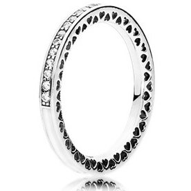 Pandora Radiant Hearts of Pandora Clear Ring, Size 7.5