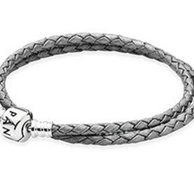 Pandora Silver Grey Leather Bracelet, 16.1in