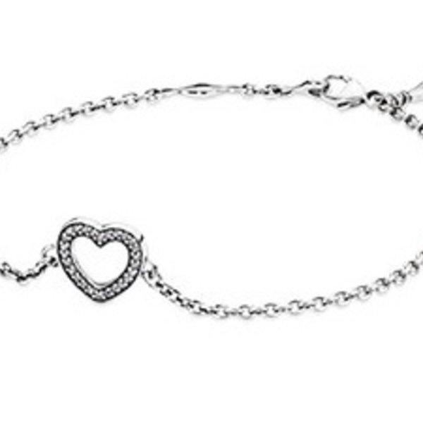 Pandora Heart Bracelet, 6.3in