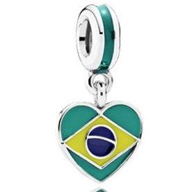 Pandora Brazil Heart Flag Charm