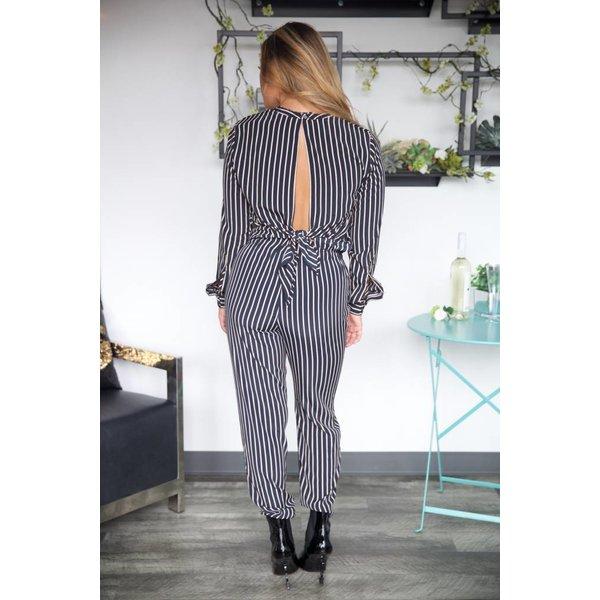 Stripe Open Back Blouse