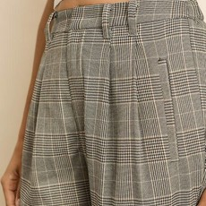 DRESS FORUM Plaid Cuffed Hem Trousers