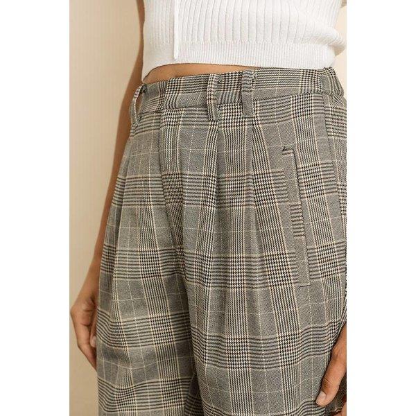 Plaid Cuffed Hem Trousers