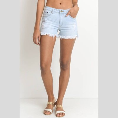 JUST BLACK DENIM Fringe Hem Short