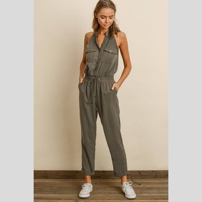 DRESS FORUM Sleeveless Utility Jumpsuit