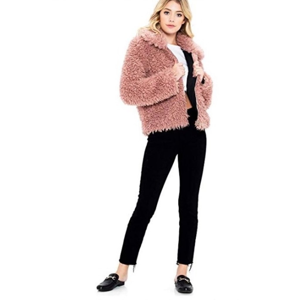 SNEAK PEEK Mauve Faux Fur Jacket