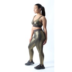 MONO B Gold Dust Highwaist Varsity Leggings