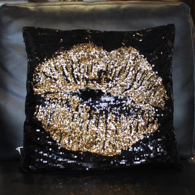 Oliver Gal Lips Sequin Pillow