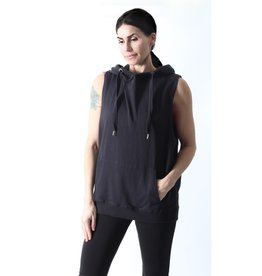 MONO B Hooded Longline Cuffed Muscle Top  One Size