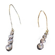 Silver Diamond Drop Earrings