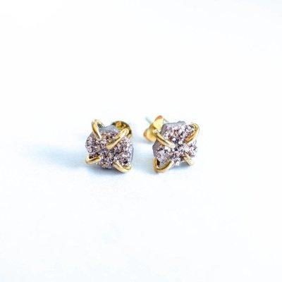 JAXKELLY Free Form Druzy Stud Earrings