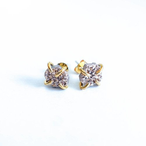 JAXKELLY Free Form Druzy Stud Earrings