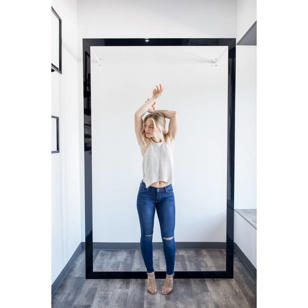 High Rise Knee Slit Skinny Jeans - Dark Denim
