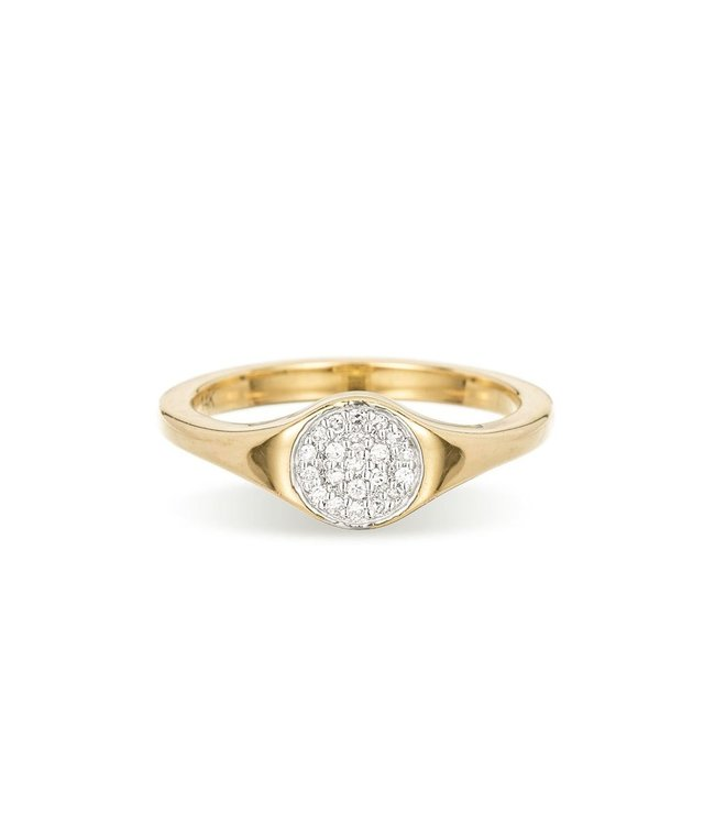 ADINA REYTER SMALL SOLID PAVE' DISCO SIGNET RING-Y14