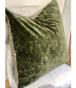 ELLAS IN-HOME INTERIORS CISCO BROS. VELLUTO OLIVE FABRIC, GRADE Q, PILLOW 24X24