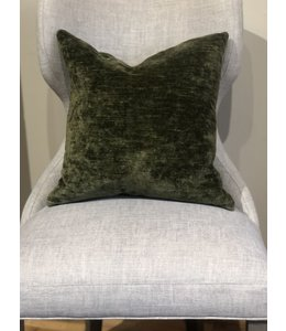 ELLAS IN-HOME INTERIORS CISCO BROS. VELLUTO OLIVE FABRIC, GRADE Q, PILLOW 18X18