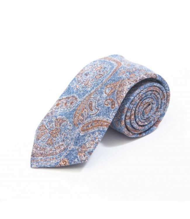 BUTTERFLY BOWTIES INC DENIM/CHESTNUT TAPESTRY PAISLEY SHAPPE DIAMANTE 100% SILK TIE