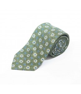 BUTTERFLY BOWTIES INC MOSS GREEN/BLUE/OFF WHITE FLORAL NEAT SHAPPE DIAMANTE 100% SILK TIE