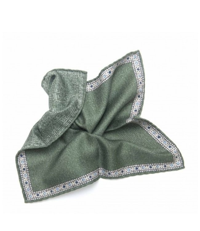 BUTTERFLY BOWTIES INC MOSS GREEN/GLEN PLAID 100% SILK REVERSIBLE POCKET SQUARE