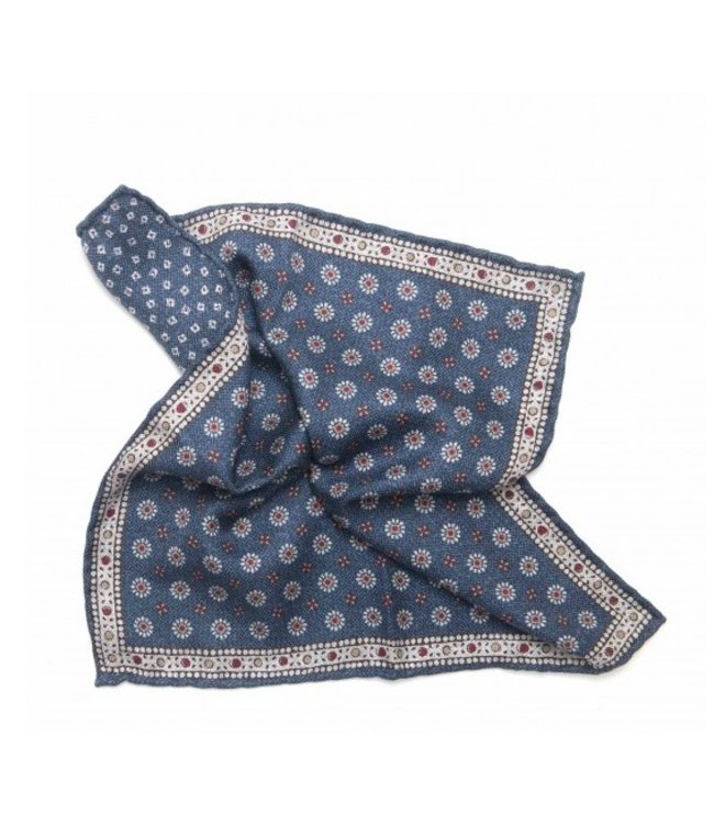 BUTTERFLY BOWTIES INC NAVY/RED 100% SILK REVERSIBLE POCKET SQUARE