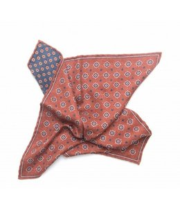 BUTTERFLY BOWTIES INC RUST/NAVY 100% SILK REVERSIBLE POCKET SQUARE