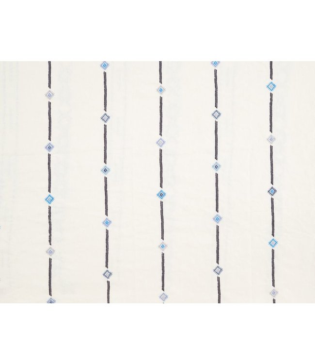 CISCO BROTHERS AMAL IVORY BLUE FABRIC BY THE YARD