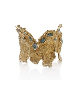 EMILIE SHAPIRO MOSAIC WIDE CUFF - BRASS & EMERALD