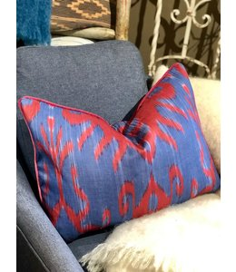 DESIGN LEGACY IKAT BLUE AND RED PILLOW 17X24