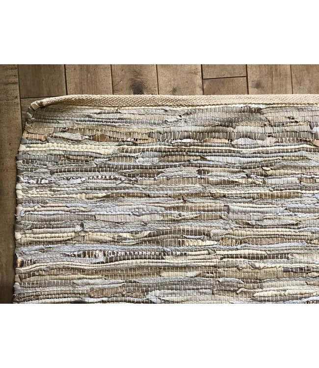 ZENZA LEATHER RUG - METALLIC/BEIGE XL
