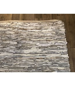 ZENZA LEATHER RUG IN METALLIC & WHITE