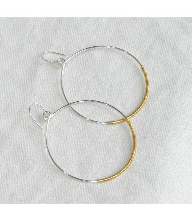 DEBORAH WASLAWSKI (C) SILVER HOOPS WITH WRAPPED IN GOLD