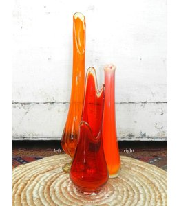 FRAN BUHR (C) MIDCENTURY ORANGE GLASS VASE 1960'S