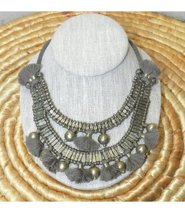 ZENZA NEW MOON NECKLACE IN TAUPE
