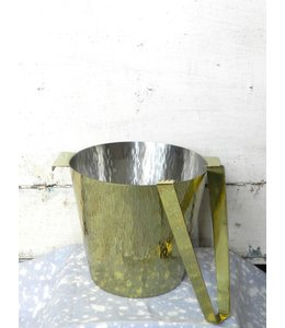 ROOST HAMMERED BRASS ICE BUCKET W/TONGS