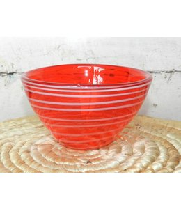 FRAN BUHR (C) MURANO ART GLASS BOWLRED WITH STRIPE