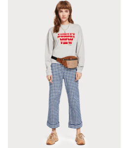 SCOTCH & SODA HIGH NECK SWEAT WITH TERRY EMBROIDERED ARTWORK