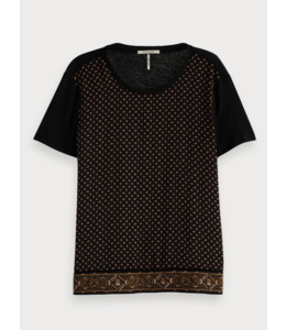 SCOTCH & SODA MIXED PRINT TEE WITH WOVEN FRONTPANEL