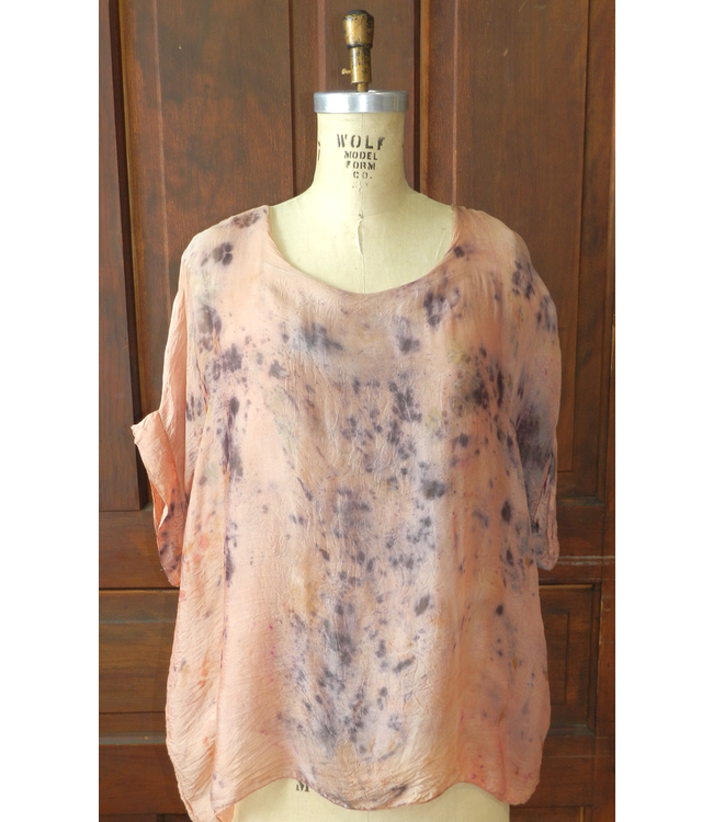 ELLAS BLOUSE DYED WITH ROSES AND CRYSTAL ELIXIRS IN ORANGE