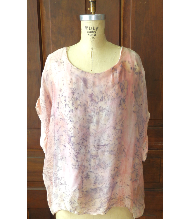 ELLAS BLOUSE DYED WITH ROSES AND CRYSTAL EXILIRS IN PINK