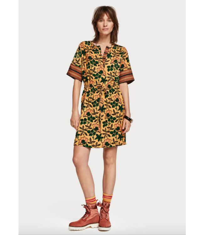 SCOTCH & SODA MIXED PRINT DRESS WITH WAIST DRAWCORD