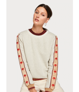 SCOTCH & SODA CREWNECK SWEATER WITH EMBROIDERED WOVEN TAPE ON SLEEVES