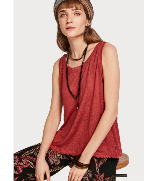 SCOTCH & SODA LINEN TANK TOP WITH CROSSOVER BACKPANEL AND TAPES