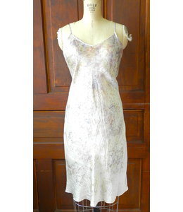 ELLAS SLIP DRESS DYED WITH ROSES & CRYSTAL ELIXIRS IN WHITE