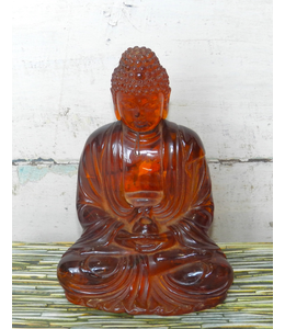 ELLAS TIBETAN CARVED AMBER BUDDHA