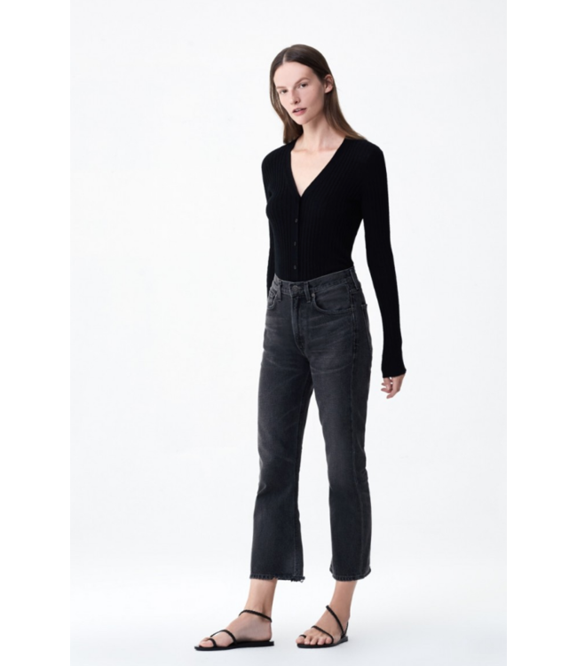 CITIZENS OF HUMANITY ESTELLA HIGH RISE ANKLE FLARE BLK MN