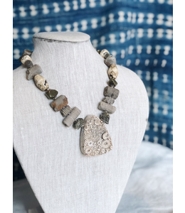 AMY KAHN RUSSELL ANCIENT FOSSIL NECKLACE CHAIN MADE FROM ANCIENT CRINOID, BONE, AND PYRITE