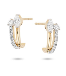ADINA REYTER GRACE MARQUISE + ROUND J HOOPS - Y14 0.33 CT