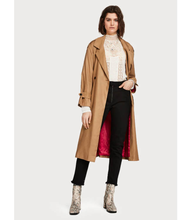 SCOTCH & SODA LONGER LENGTH DRAPY TRENCH COAT COMES WITH A WAIST-BELT