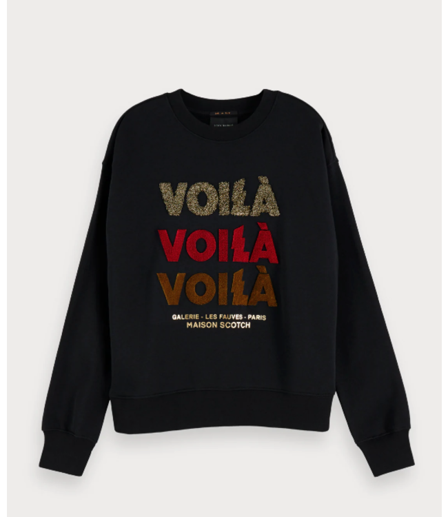 SCOTCH & SODA SWEAT WITH TERRY AND VELVET ARTWORK